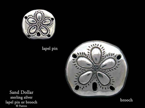 Sand Dollar Lapel Pin Brooch sterling silver
