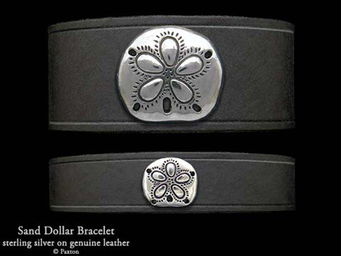 Sand Dollar on Leather Bracelet