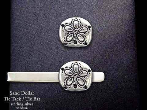 Sand Dollar Tie Tack Tie Bar sterling silver