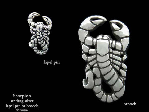 Scorpion lapel Pin Brooch sterling silver