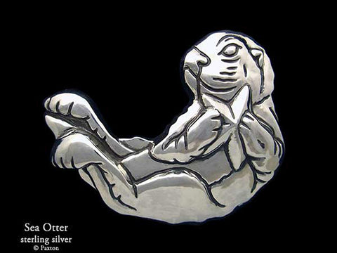 Sea Otter Belt Buckle sterling silver