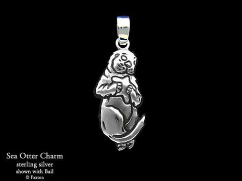 Sea Otter Charm Necklace sterling silver