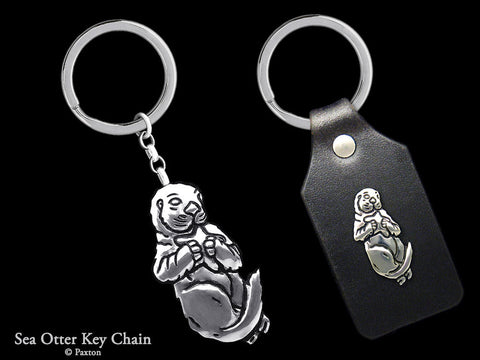 Sea Otter Key Chain Sterling Silver