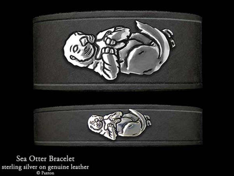 Sea Otter on Leather Bracelet