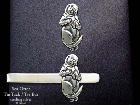 Sea Otter Tie Tack Tie Bar sterling silver