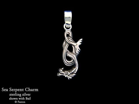 Sea Serpent Charm Necklace sterling silver