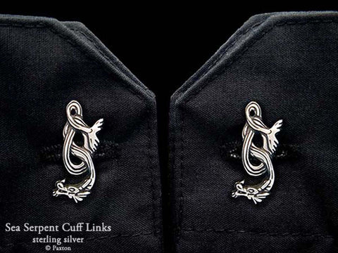 Sea Serpent Cuff Links sterling silver
