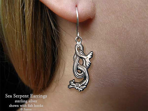 Sea Serpent Earrings fishhook sterling silver