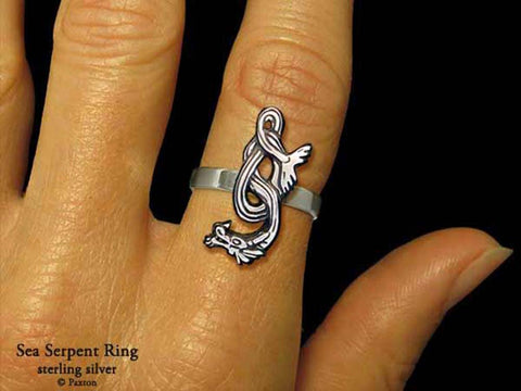 Sea Serpent ring sterling silver