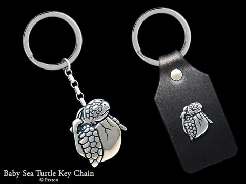Baby Sea Turtle Key Chain Sterling Silver