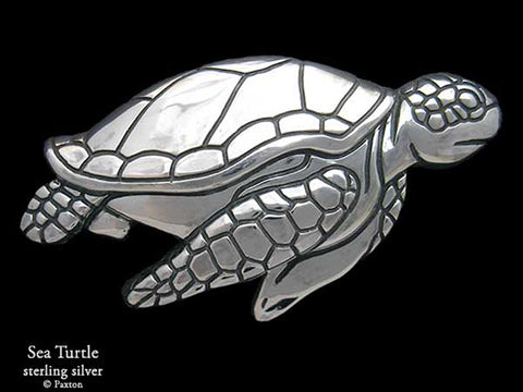 Sea Turtle Belt Buckle sterling silver