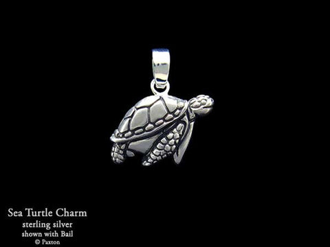 Sea Turtle Charm Necklace sterling silver