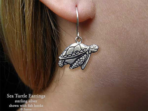 Sea Turtle Earrings fishhook sterling silver