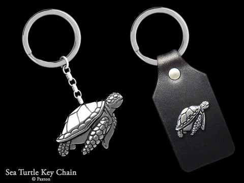 Sea Turtle Key Chain Sterling Silver