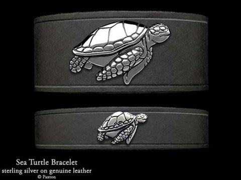 Sea Turtle on Leather Bracelet