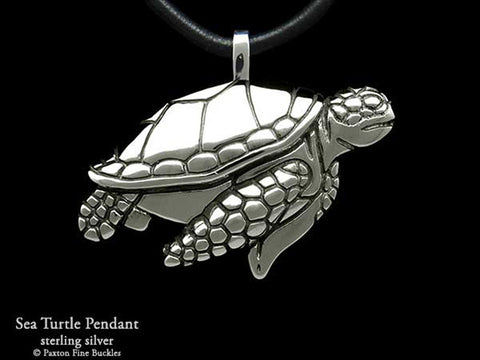 Sea Turtle Pendant Necklace sterling silver