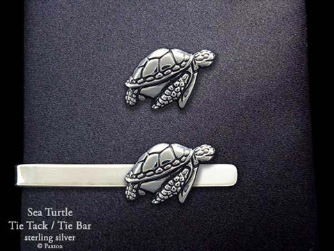 Sea Turtle Tie Tack Tie Bar sterling silver