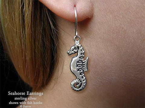 Seahorse Earrings fishhook sterling silver