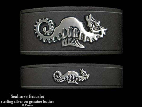 Seahorse on Leather Bracelet