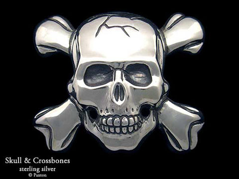 Skull Crossbones Belt Buckle sterling silver