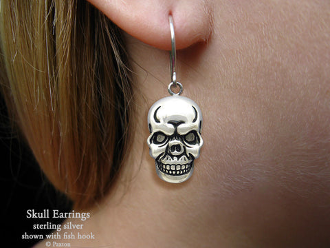 Skull Earrings fishhook sterling silver
