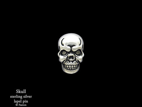 Skull lapel Pin sterling silver