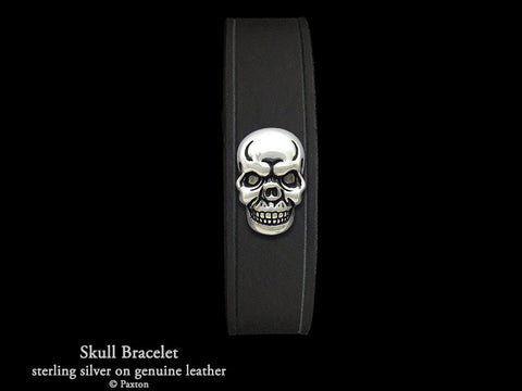 Skull on Leather Bracelet