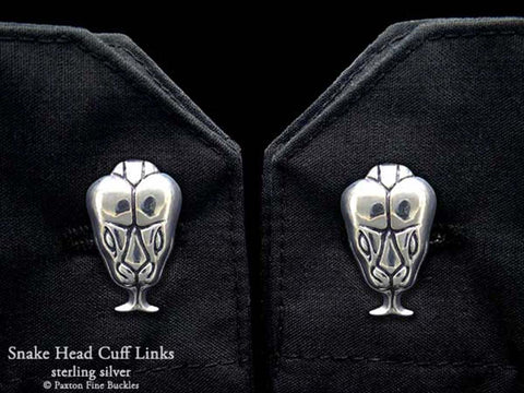 Snake Head Cuff Links sterling silver
