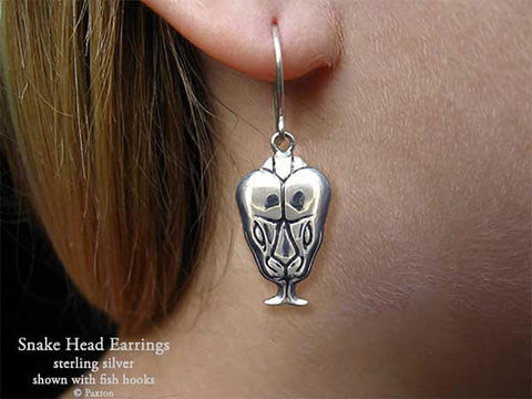 Snake Head Earrings fishhook sterling silver