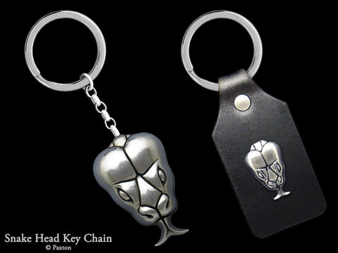 Snake Head Key Chain Sterling Silver