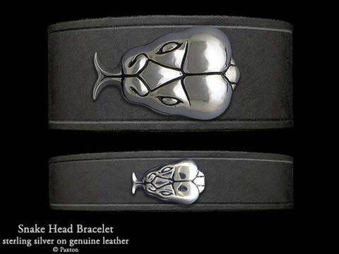 Snake Head on Leather Bracelet