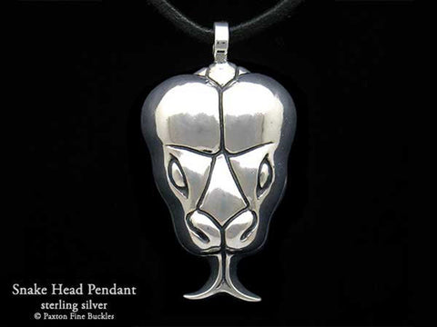 Snake Head Pendant Necklace sterling silver