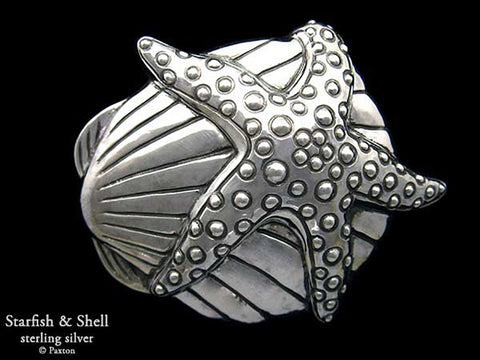 Starfish Shell Belt Buckle sterling silver