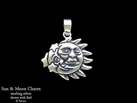 Sun Moon Charm Necklace sterling silver
