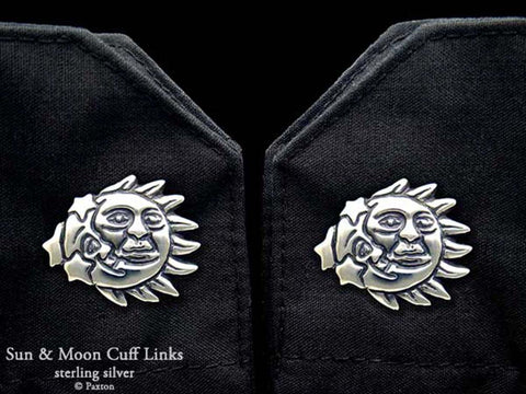 Sun Moon Cuff Links sterling silver
