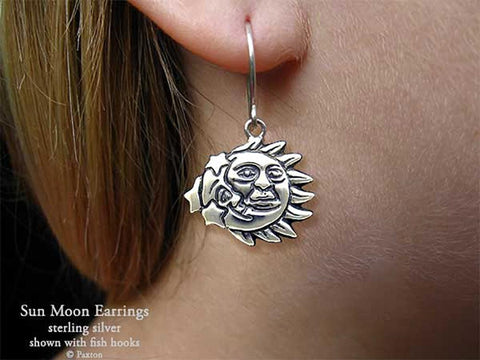 Sun Moon Earrings fishhook sterling silver