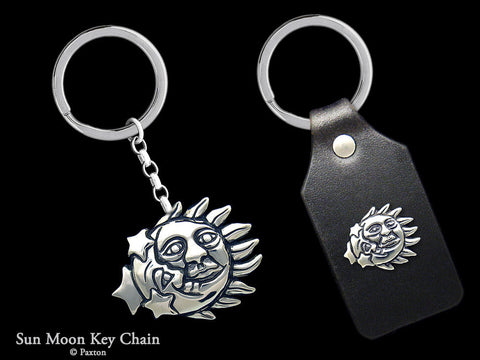 Sun Moon Key Chain Sterling Silver
