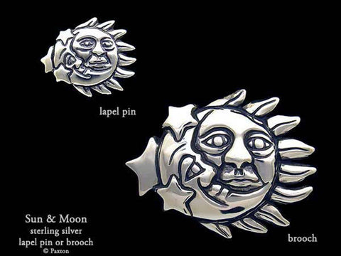 Sun Moon Lapel Pin Brooch sterling silver