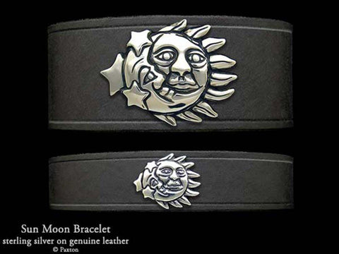 Sun Moon on Leather Bracelet