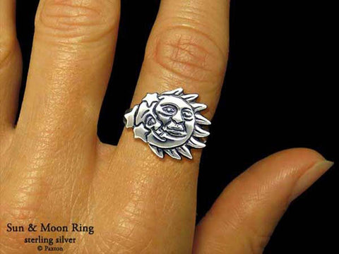 Sun Moon ring sterling silver