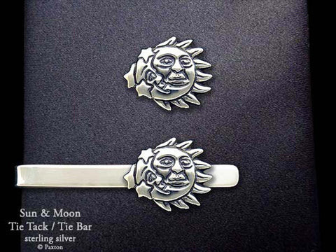Sun Moon Tie Tack Tie Bar sterling silver