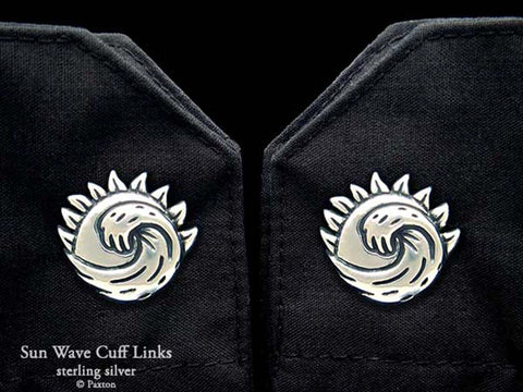 Ocean Wave Sun Cuff Links sterling silver