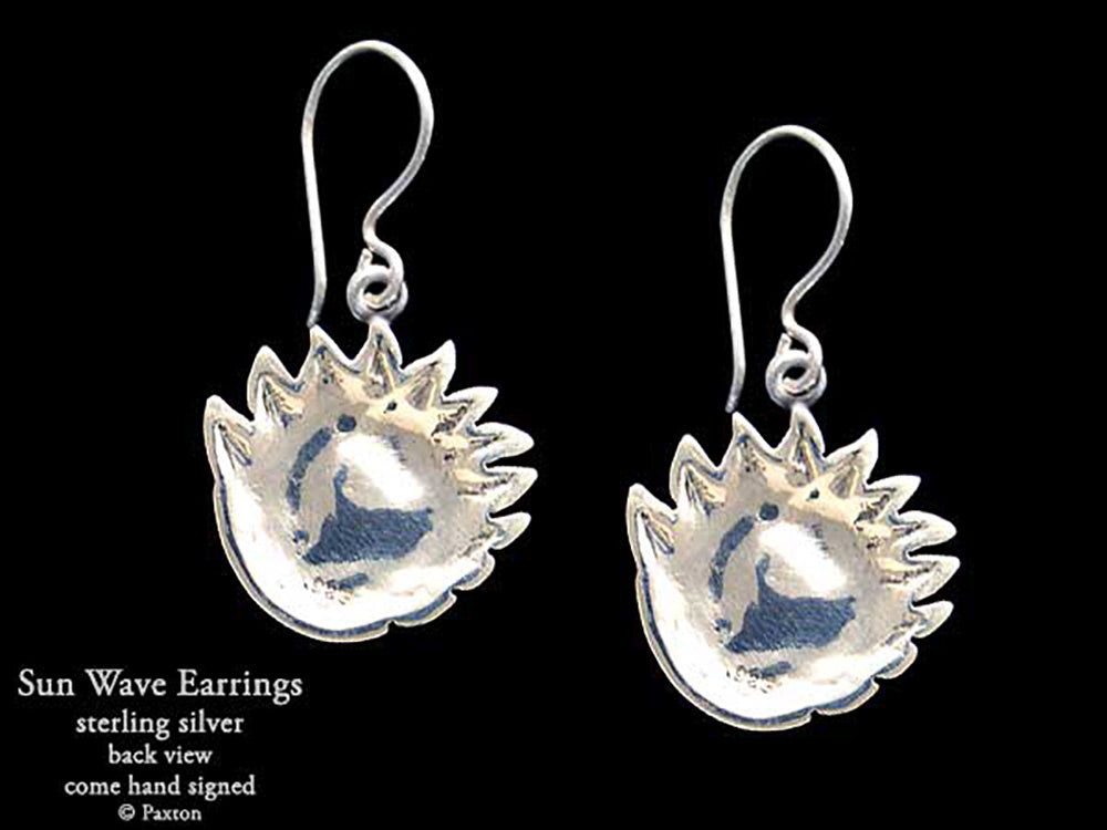 Sun Wave  Earrings Sterling Silver Hand Carved /& Cast Fish Hook or Post Ocean Wave Sun