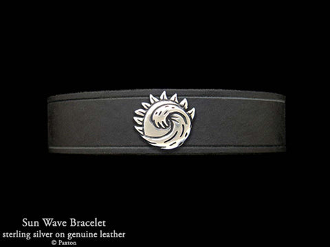 Sun Wave on Leather Bracelet