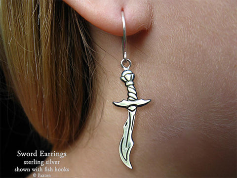 Sword Saber Earrings fishhook sterling silver