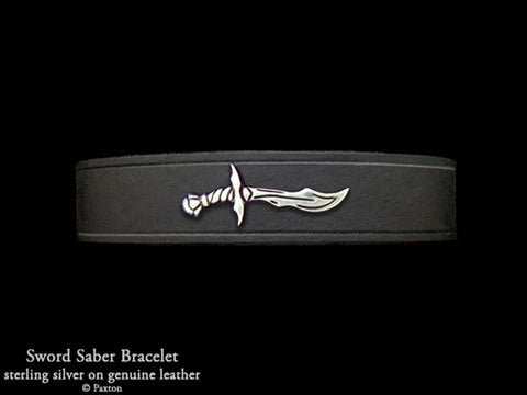 Sword Saber on Leather Bracelet
