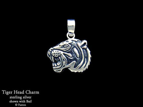 Tiger Head Charm Necklace sterling silver