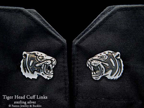 Tiger Head Cuff Links sterling silver