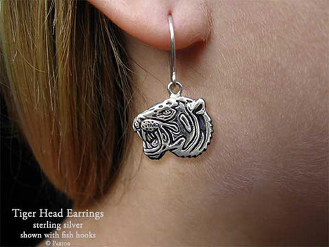 Tiger Head Earrings fishhook sterling silver