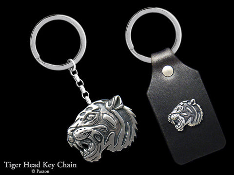 Tiger Head Key Chain Sterling Silver